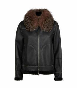 Fox Fur Trim Leather Jacket