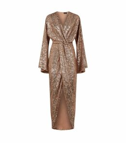 Twist Front Sequin-Embellished Gown
