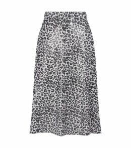 Jeanie Leopard Print Sequin Skirt