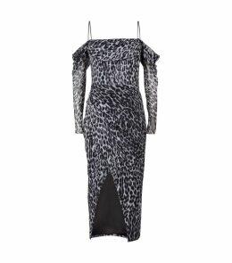 Off-The-Shoulder Leopard Print Midi Dress