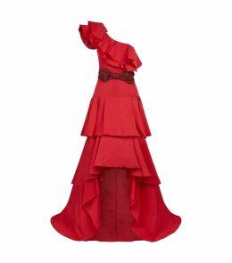 Silk Tiered One-Shoulder Gown