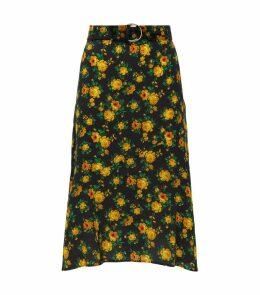 Floral Silk Midi Skirt