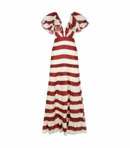 Silk Stripe Maxi Dress