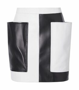 Leather Colour-Block Skirt