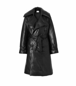 Leather Down Trench Coat