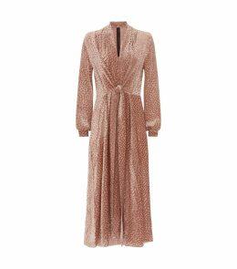 Denver Devoré Draped V-Neck Midi Dress