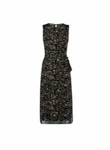 Womens Multi Colour Sequin Shoulder Shift Dress- Brown, Brown