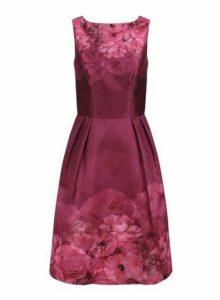 Womens *Chi Chi London Curve Burgundy Floral Printed Midi Dress- Burgundy, Burgundy