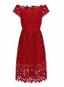 Womens *Chi Chi London Red Bardot Crochet Dress- Red, Red