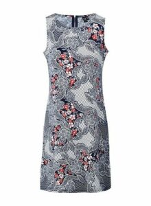 Womens *Izabel London Navy Floral Print Shift Dress, Navy