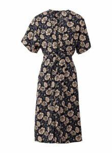 Womens *Izabel London Multi Colour Floral Print Skater Dress- Black, Black