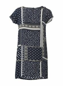 Womens *Izabel London Navy Patchwork Shift Dress- Blue, Blue