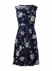 Womens *Izabel London Navy Floral Print Ribbon Belt Dress, Navy