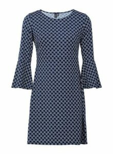 Womens *Izabel London Navy Geometric Print Dress, Navy