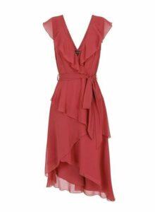 Womens **Little Mistress Coral Asymmetric Ruffle Midi Dress- Coral, Coral