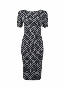 Womens Black Jacquard Print Ruched Sleeve Bodycon Dress, Black