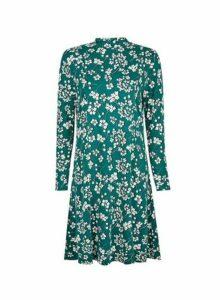 Womens Green Floral Print High Neck Swing Dress, Green