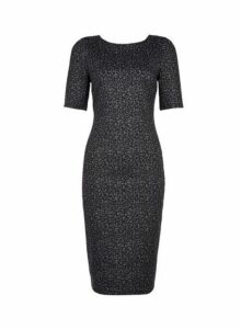 Womens Grey Animal Print Bodyocn Dress- Black, Black