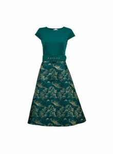 Womens **Luxe Green Belted Jacquard Midi Dress- Green, Green