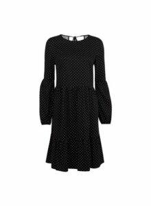 Womens **Tall Black Spot Print Smock Dress- Black, Black