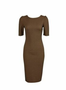 Womens Brown Geometric Print Jacquard Bodycon Dress, Brown
