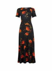 Womens **Tall Black Floral Print Midi Dress, Black