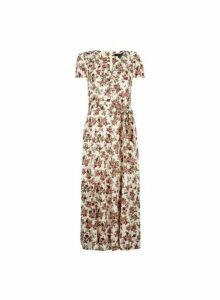 Womens **Tall Ivory Floral Print Ruffle Midi Dress, Ivory