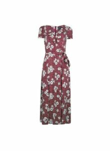Womens **Tall Berry Floral Print Ruffle Midi Dress- Multi Colour, Multi Colour