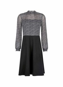 Womens Black Shirred Neck Mesh 2-In-1 Dress- Black, Black