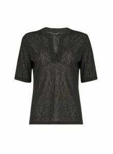 Womens Black Nehru Collar Half Sleeve Top- Black, Black