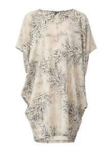 Womens *Izabel London Beige Leaf Print Tunic Top- Beige, Beige