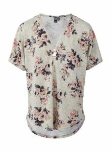 Womens *Izabel London Stone Floral Print Bloom Top- Multi Colour, Multi Colour