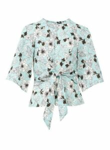Womens *Izabel London Floral Print Tie Waist Blouse- Mint, Mint