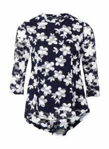 Womens *Izabel London Navy Floral Print Lace Blouse- Navy, Navy