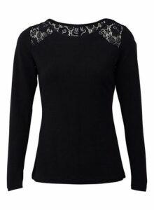 Womens *Izabel London Black Lace Jumper- Black, Black