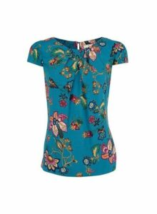 Womens **Billie & Blossom Teal Floral Print Shell Top- Blue, Blue