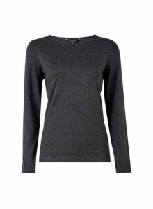 Womens Charcoal Long Sleeve Crew Neck Top- Grey, Grey