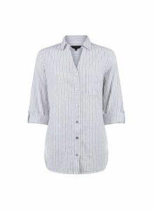 Womens White Pinstripe Cotton Shirt- White, White