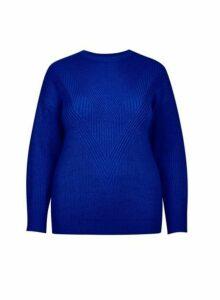 Womens **Dp Curve Cobalt Stitch Jumper- Cobalt, Cobalt