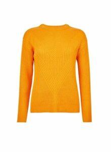 Womens Orange Ribbed Stitch Jumper- Orange, Orange