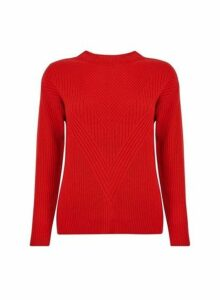 Womens Red Ribbed Stitch Jumper- Red, Red