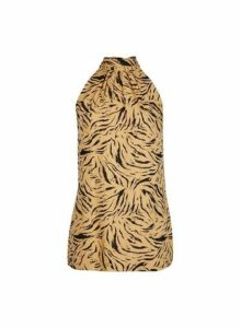 Womens **Tall Tiger Print High Neck Top- Brown, Brown