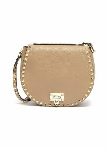 'Rockstud' small grainy leather saddle bag