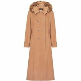 Anastasia  Camel Womens Hood Military Cashmere Coat  women's Coat in Beige