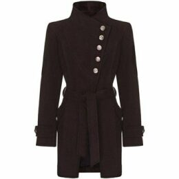 Anastasia  black Womens Multi Button Asymentric Coat  women's Trench Coat in Black