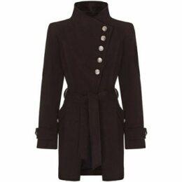 Anastasia  black Womens Multi Button Asymentric Coat  women's Trench Coat in Black