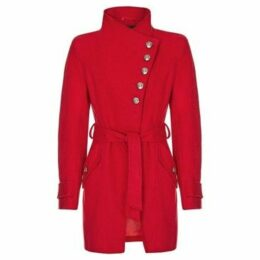 Anastasia  Red Womens Multi Button Asymentric Coat  women's Trench Coat in Red