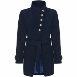 Anastasia  Navy Womens Multi Button Asymentric Coat  women's Trench Coat in Blue