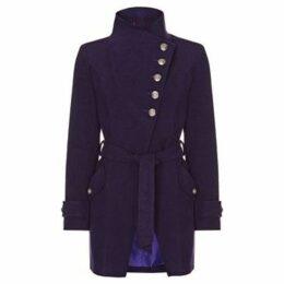 Anastasia  Purple Womens Multi Button Asymentric Coat  women's Trench Coat in Purple