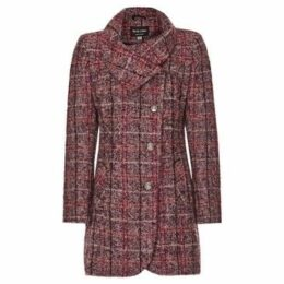 Anastasia  De La Creme Womens Pink Check Asymetric Coat  women's Coat in Pink